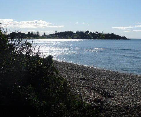 Looking across the smooth Bass Strait waters to Devonport Bluff