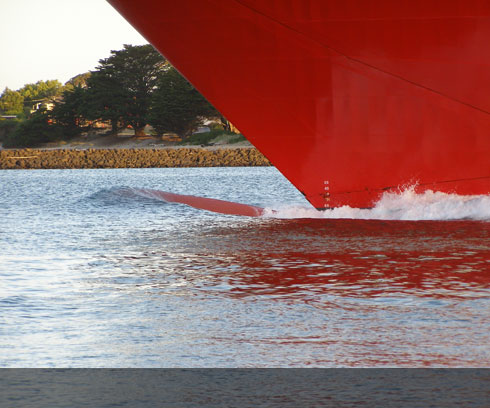 The silky smooth bow of the Spirit of Tasmania