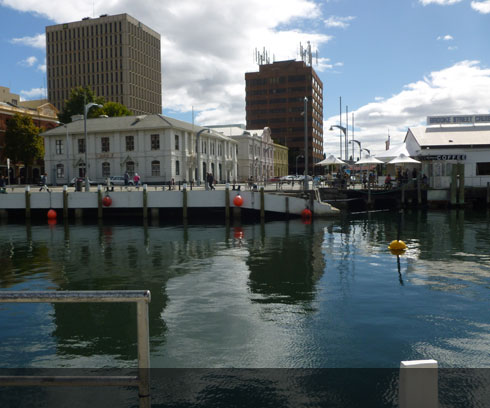 The reflective waters of Hobart's vibrant waterfront district