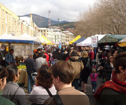 The celebrated Salamanca Markets fill the streets of Hobart every Saturday