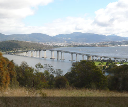 The impressive Tasman Bridge links east to west Hobart
