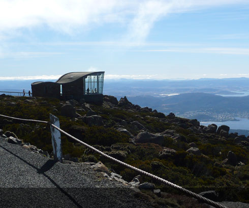 The all weather lookout atop Mount Wellington, minutes form Hobart