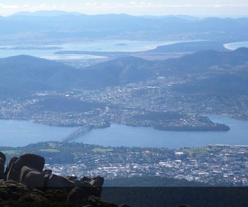 Expansive views of Hobart from the Mountain top